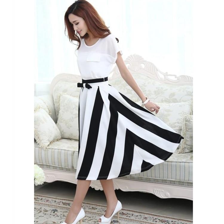 2016 summer chiffon pleated midi skirt black