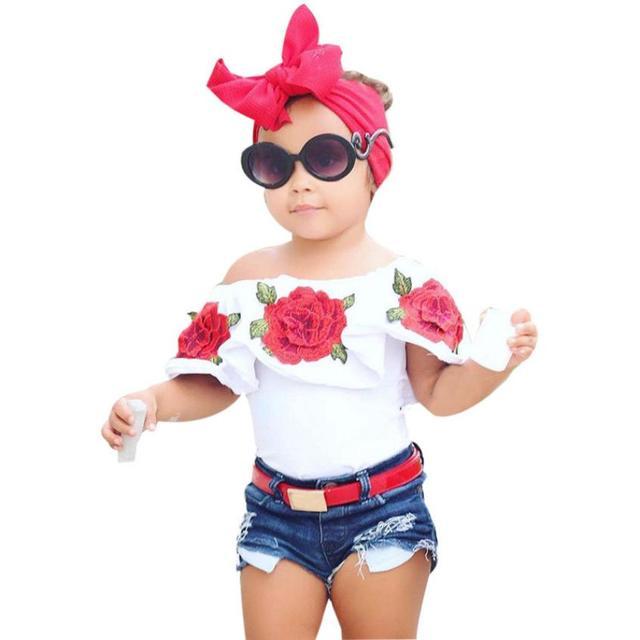 2019 חדש לפעוטות ילדים בייבי בנות קיץ חולצה אופנה כבוי כתף רוז פרח T חולצה חולצות תלבושות בגדים # YL5