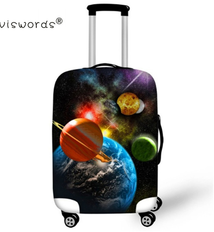 ELVISWORDS 3D Printing Galaxy Suit Cases Protector Travel Luggage Suitcase Protective Bags Stretch Dust Covers For