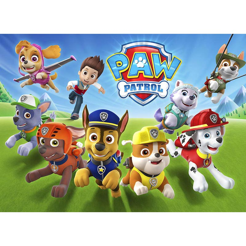 Cartoon Dogs paw patrol birthday Photo Backdrop Baby Children Party Fotografia Backgrounds for Photo Studio LV-369