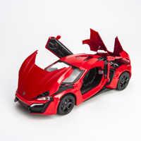 KIDAMI-modelos de autos de aleación Lykan, escala 1:32, colección de coches de Metal de cuatro colores, juguetes para niños, vehículos fundidos siku