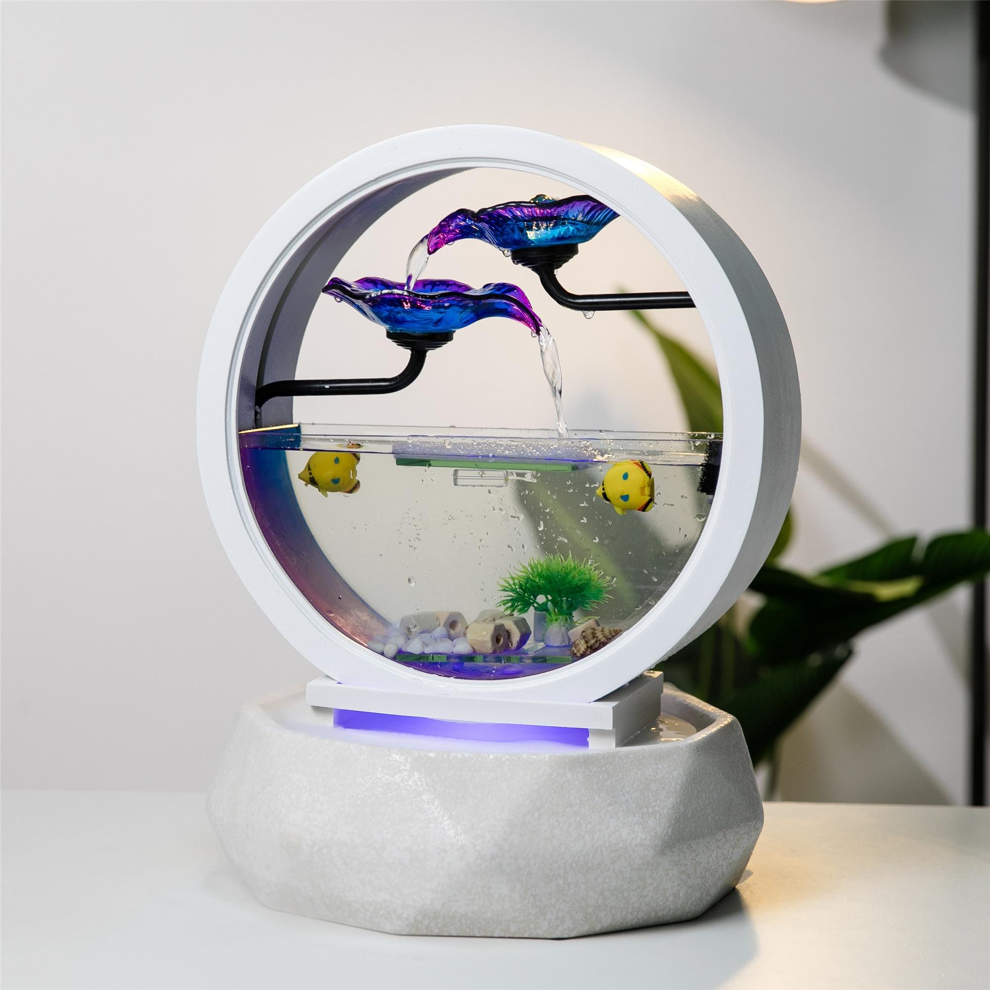 Créativité Table dessus fontaine à eau petit Aquarium rond verre blanc Aquarium intérieur bureau décoration de bureau Kit cascade