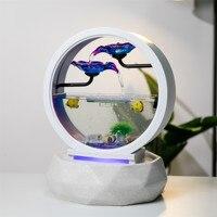 Creativity Table Top Water Fountain Small Fish Tank Round White Glass Aquarium Indoor Office Desktop Decoration Waterfall Kit