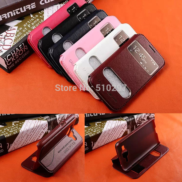 KLX Fashion View Window Pu Leather Flip Cover Stand Case For Samsung Galaxy Core Prime G360 SM-G3606 G3608