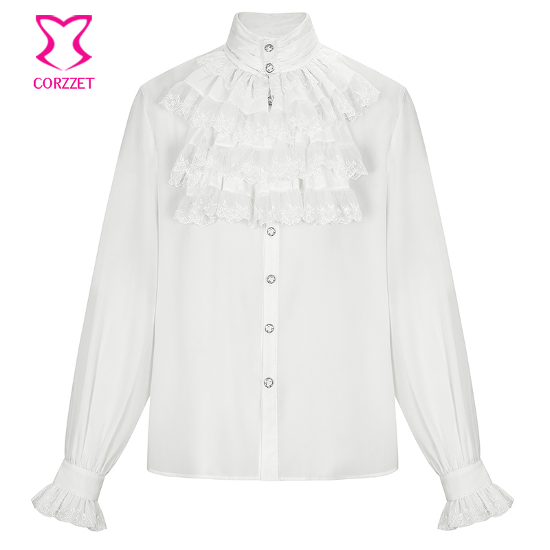 Vintage Victorian White Lace Ruffled Stand CollarLantern Long Sleeve Shirt Men Gothic Renaissance Medieval Top Plus Size 6XL