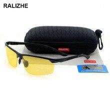 RALIZHE Mens Womens HD TAC Polarized Sunglasses Aluminum Magnesium Alloy Sport Yellow Night Vision Glasses UV400 Half Driving