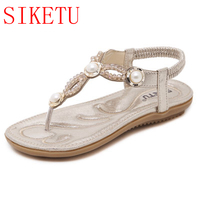 New Fashion Beading Pearls Bohemia Women Sandals Flat Heels Comfortable Elestic Sandals Summer Style Shoes F820