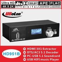 HDMI AC3 dolby DTS 5.1 Decodificador De Áudio DAC Converter Engrenagem corrida 4 k * k HDMI Extrator 2 Switcher Digital home Theater De Áudio SPDIF USB