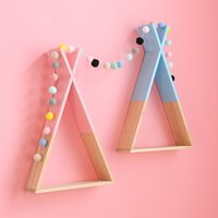 Ins Nordic Style Solid Wood Geometric Shelf Partition Creative Home Decoration Wall Hanging Wall Storage Rack