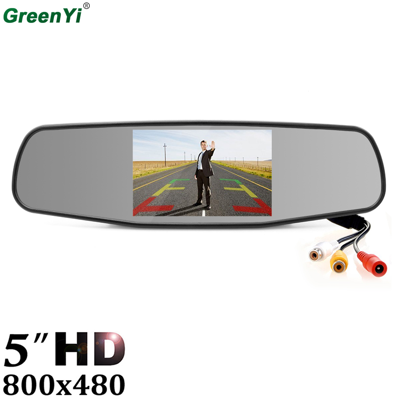 GreenYi 5 Inch 800*480 Digital TFT LCD Car Parking Monitor Rear View Mirror Monitor With 2 Video Input Connect Video Play