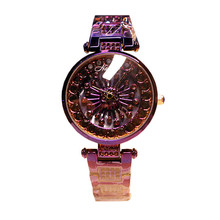 цена Fashion New Authentic Ladies Quartz Watch Rotating Waterproof Steel Belt Watch Rhinestone Bracelet Trend Watch онлайн в 2017 году