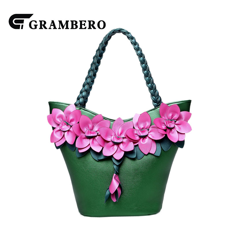Creative 3D Flower Soft PU Leather Handbag Fashion Women Weave Straps Shoulder Bag Lady Banquet Top-handle Bags Birthday Gifts fashion relief rose flower pattern handbag pu leather genuine leather zipper ring top handle bag lady party shoulder bags gifts