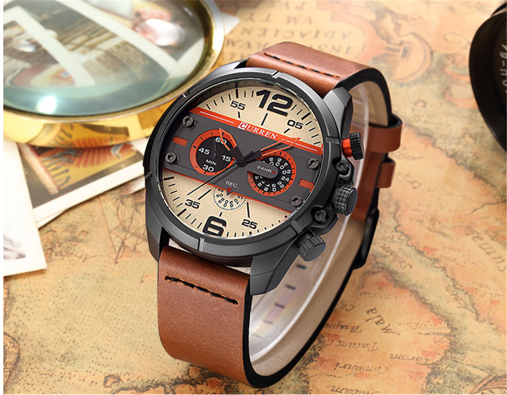 CURREN New Watches Men Top Luxury Brand Army Military Watch Male Leather Sports Quartz Wristwatches Relogio Masculino 8259