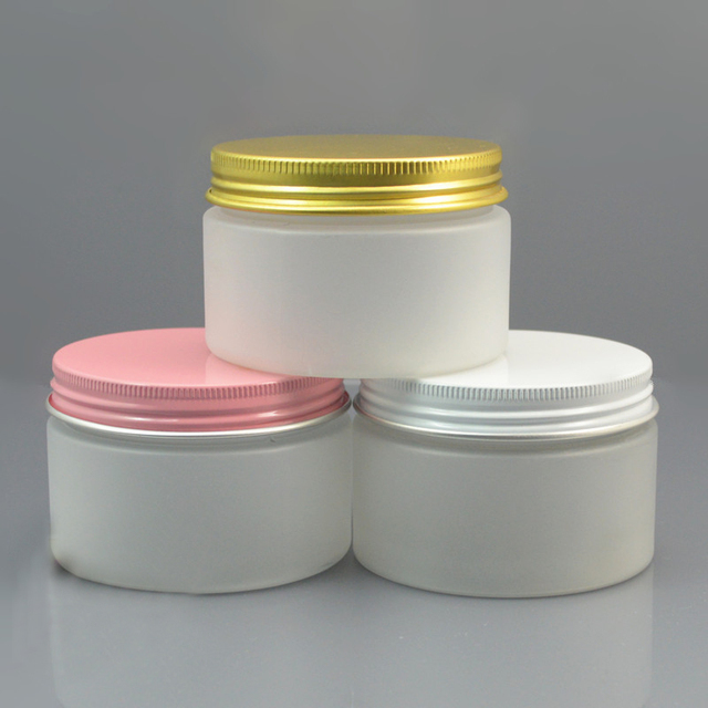 free shipping 120ml 7.1*4.8cm frosted FET jar with white / pink / yellow aluminum cover