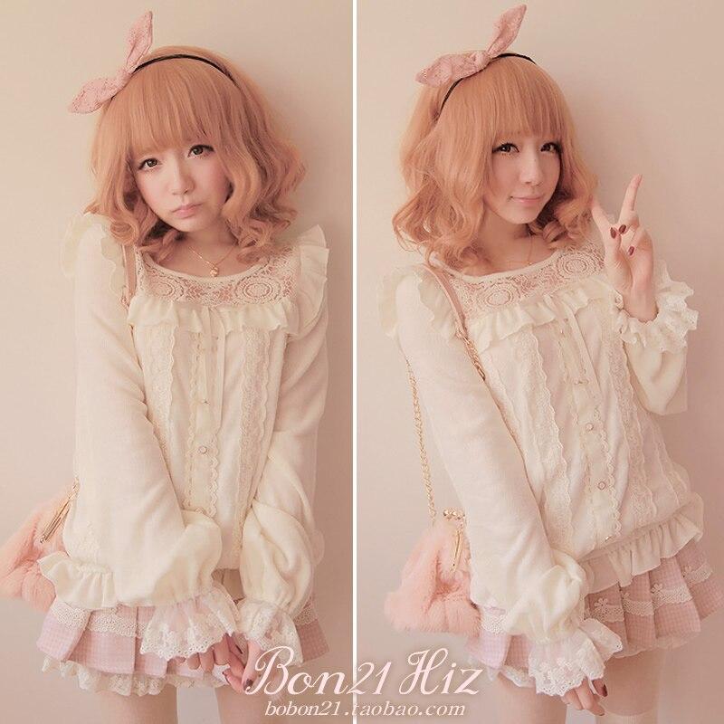 Princesse sweet lolita chandail amo douce dentelle blanche pull pur angle jeune fille manches lanterne dentelle décoration tricoté personnalisé X1