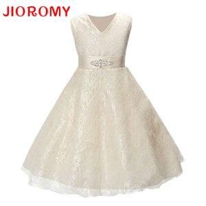 Meninas festa vestir roupas para crianças verão sem mangas rendas princesa vestido de casamento meninas adolescente bem festa formatura vestido k1
