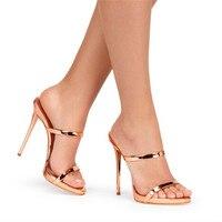 新しい二つの薄いストラップ付きサンダルスリッパハイヒール金銀革グラディエーターサンダル女性スライドの靴女性sandalias mujer
