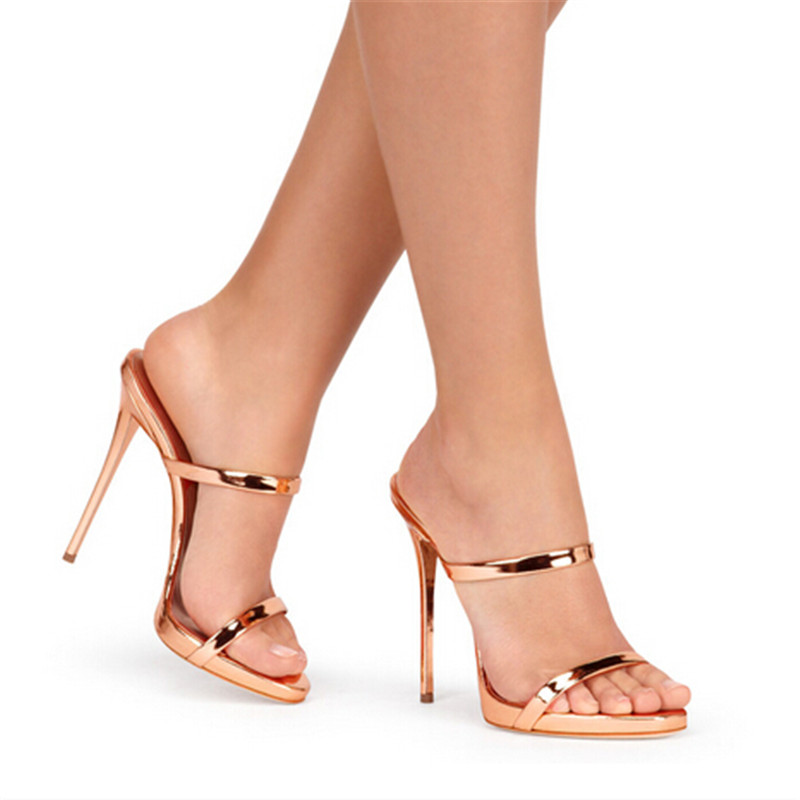 New Two Thin Strappy Sandals Slipper High Heels Gold Silver ...