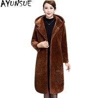 Ayunsue 2018 натуральная Шерстяное пальто Для женщин овечья шерсть меховые куртки с капюшоном длинные зимние пальто плюс Размеры 5XL jaqueta feminina WYQ1557