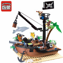 Enlighten Pirate Series Pirate Ship Building Blocks Sets Minifigures Compatible With Legoe DIY Construction Bricks For Children недорго, оригинальная цена