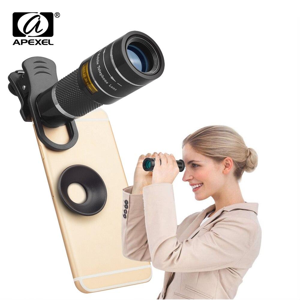 APEXEL 20X Lentes de Telefonia móvel Telescópio monocular Zoom Lente Da Câmera para o iphone x 7 8 6 plus Samsung s8 Nota 8 para Xiaomi HTC