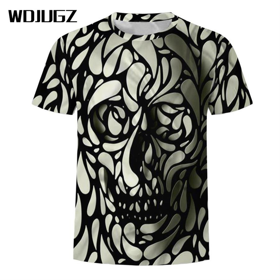 2018 Brand New Fashion Short Sleeve T-shirt Skull artistic designing Print casual A cool and breathable T-shirt for men and wome