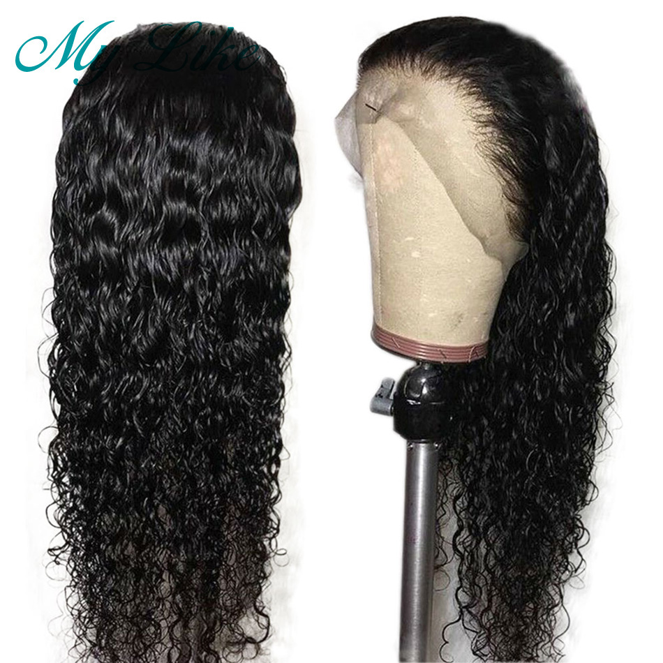 My Like Curly Full Lace Wigs for Women  Brazilian Remy Hair Glueless Lace Front Human Hair Wigs Pre Plucked with Baby Hair(China)