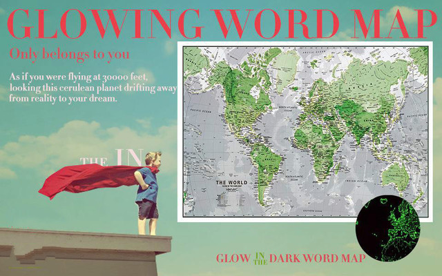 Creative kid early learning tool glow in the dark world map mapa creative kid early learning tool glow in the dark world map mapa mundi luminous wall poster gumiabroncs Gallery