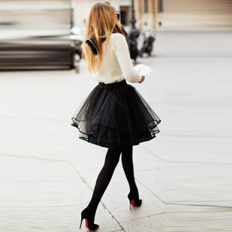Mini short Puffy Black tulle Skirt With Ruffles Fashion sexy tutu Elastic waist Woman Midi skirt puls size 2017