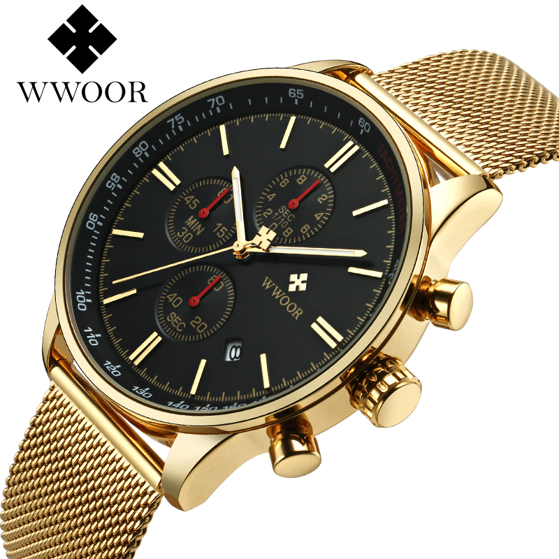 Brand Luxury Watch Men Chronograph Sport Watches Male Casual Men's Quartz Stainless Steel Sports Wrist Watch Famous WWOOR Clock