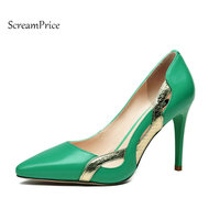 Genuine Leather Thin High Heel Pointed Toe Woman Lazy Pumps Sexy Shallow Party High Heel Shoes