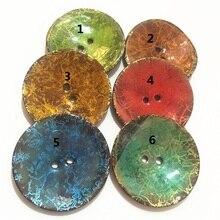 1 шт., 2 отверстия, эмаль, пять цветов, Кокосовая оболочка, пуговицы, подходят для шитья и скрапбукинга, 63 мм, декоративные пуговицы XP0411