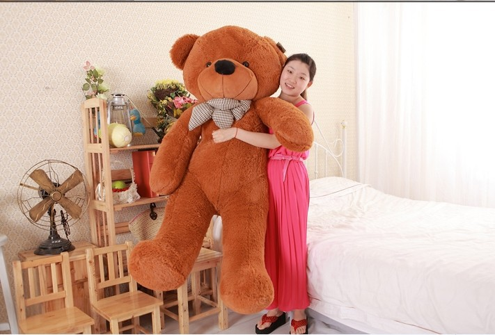 lovely huge bear toy plush toy cute big eyes bow stuffed bear toy teddy bear birthday gift dark brown 180cm футболка toy machine leopard brown