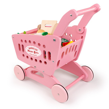 Children's shopping cart toy girl kitchen simulation toy supermarket trolley baby cut fruit and vegetable set toy