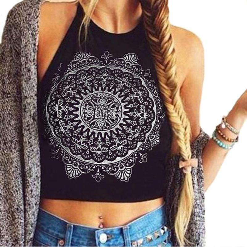 Sexy Female Sleeveless Mandala Print Strappy Crop Vest Top Women Sexy Backless Halterneck Tank Tops &Wholesale