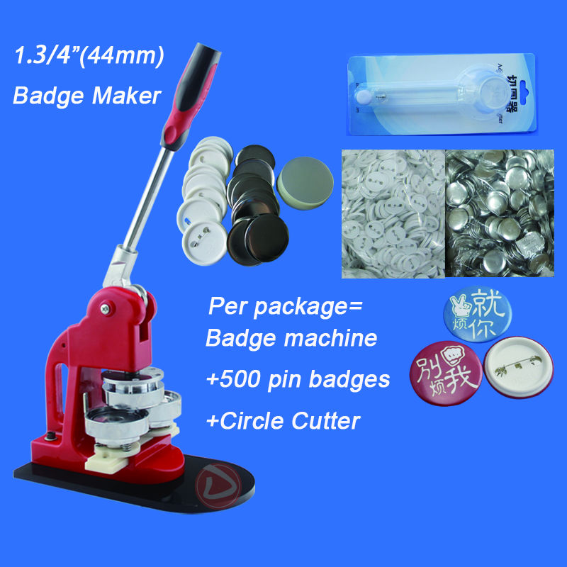 Free Shipping 1.3/4(44mm) Button Machine +Badge Paper Cutter+500 Plastic Pin Badge Material [badge machine suppliers] pin button badge machine 44mm round badge mould