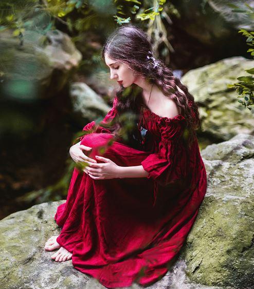 Seashore Medievale Dell'abito rosso Spalle Vestito Principessa 2018 Beige Dress Donne Abito Rinascimentale Maxi Fata Victorian Della Vintage Lungo zEPSq