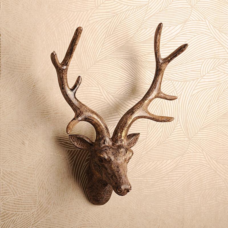 3D Résine Deer Head Sculpture Modèle Maison tenture Elk Statue Décoration Accessoires Artisanat Vin Bar Bureau peintures murales décoratives