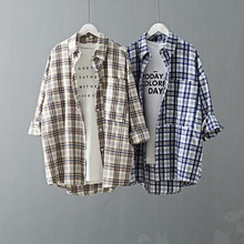 Korean Fashion Plus Size Women Plaid Shirt 2019 Spring Long Blouse Big Pocket Turn Down Collar Ladies Tops Long Sleeve Blouse plus size patch pocket long sleeve plaid t shirt