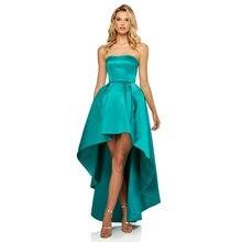 Платье женское вечернее асимметричное зеленое/розовое с бантом
