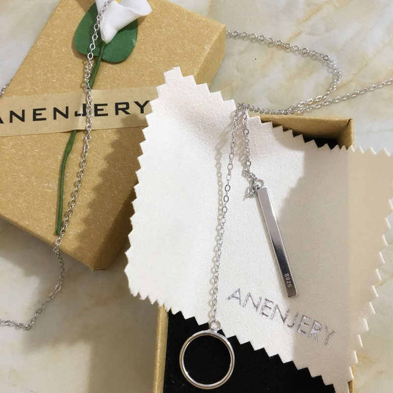 Anenjery 925 فضة مجوهرات دائرة قطاع سلسلة طويلة قلادة collares kolye بيجو فام المختنق قلادة S-N51