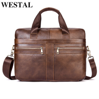 WESTAL Messenger Bag Men Shoulder Bag Genuine Leather Casual Male man briefcases laptop Men's Crossbody bags for Men 2019