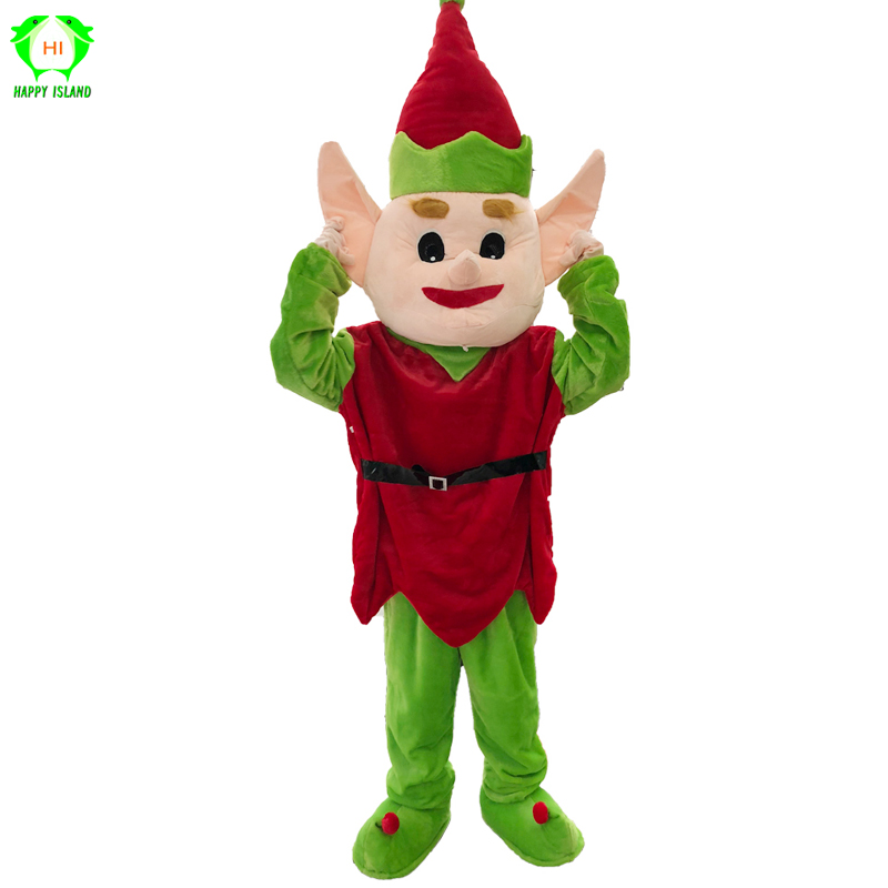 Christmas Halloween Elf Mascot Costumes Men Party Festival Fancy Dress Cosplay Costume for Adult Santa Elf Cartoon Plush Costume