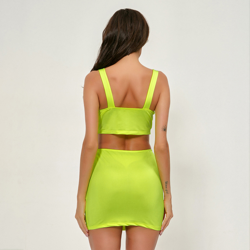 Women Sexy Summer Outfits 2019 Hot Noen Green Bustier Crop Tops and Mini Skirts Night Party Club 2 Pieces Dresses in Women 39 s Sets from Women 39 s Clothing