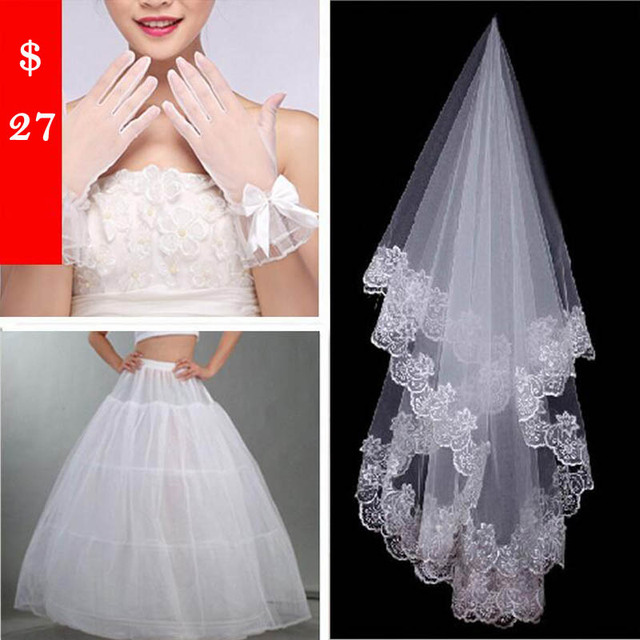 Wholesale Ivory Lace Three-Piece Bridal Veil+Tulle Gloves+Petticoat 2016 Velos De Novia Casamento Bow Wedding Accessories F003