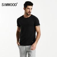 SIMWOOD 2017 Summer New T Shirt Men Colored Cotton Fashion Slim Fit White Spot Curl Hem