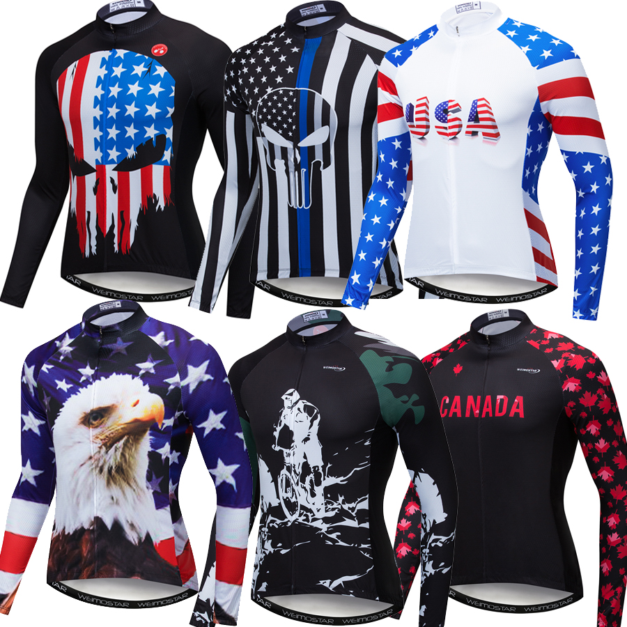 2019 USA Pro Team Reflective Cycling Jersey Shirt Long Sleeve Men MTB Bicycle Clothing Ropa Ciclismo Canada Road Bike Jerseys