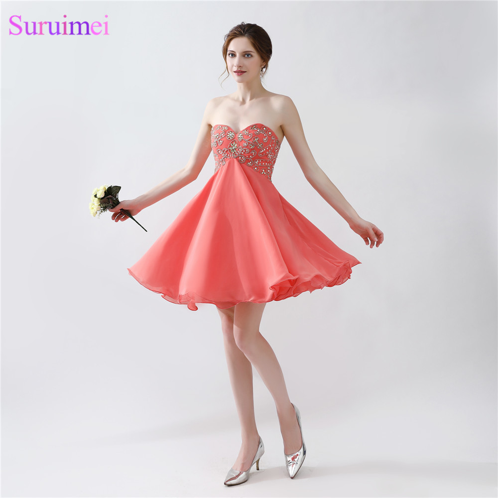 Short Coral Homecoming Dresses Chiffon Beaded Corset Lace Up Back Knee Length Beaded Graduation Party Gown