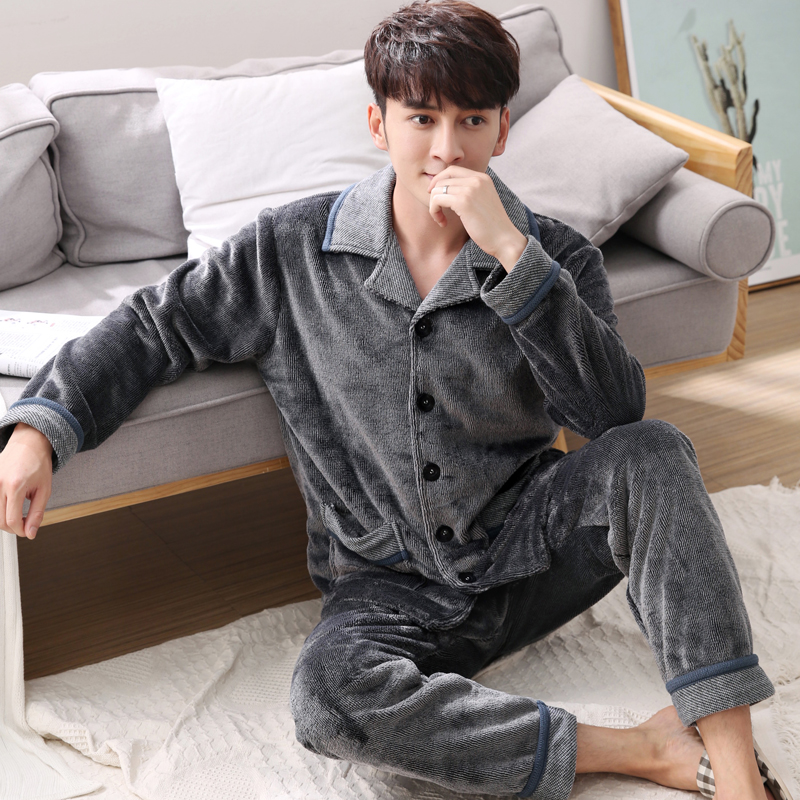 Men's Autumn And Winter Thick Flannel Pajamas Sets Long Sleeve Fashion Style Solid Warm Sleepwear Plus Size 3XL Pijama