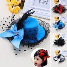 Для женщин девочек носовой зажим для волос Кружево Перо Мини Top Hat чародей Необычные платья партии Прямая поставка